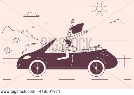 Travel, Trip, Vacations Concept. Young Happy Couple Cartoon Characters Sitting In Car And Driving Al
