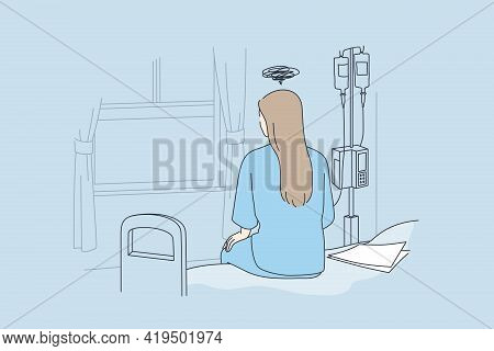 Disease, Illness, Hospital Concept. Back View Of Lonely Young Woman Sitting On Bed In Hospital Feeli