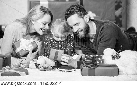Life Can Not Be Better. Family Celebrate Anniversary. Couple In Love And Baby Daughter. Valentines D