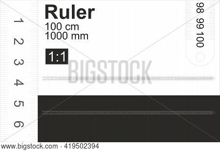 Ruler Is 100 Cm 1000mm, Black And White. 1 1 Scale