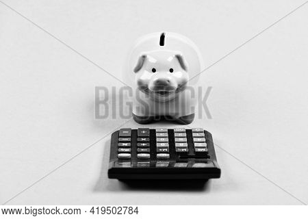 Piggy Bank Symbol Money Savings. Investments Concept. Helping Make Smart Financial Choices. Pay Taxe