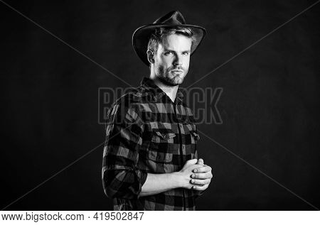 Archetypal Image Of Americans Abroad. Masculinity And Brutality Concept. Adopt Cowboy Mannerisms As
