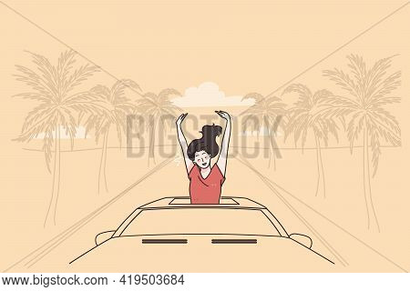 Vacation And Enjoying Traveling Concept. Young Relaxed Woman Cartoon Character Sitting In Car And En