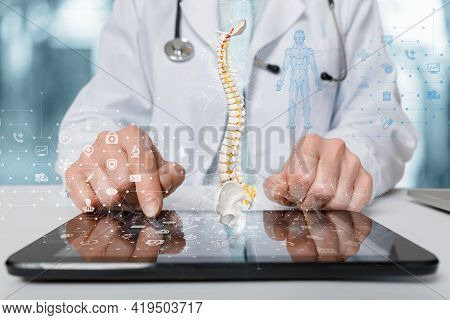 The Concept Of Studying The Study Of The Patient's Spine Using Mobile Devices.