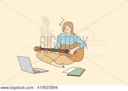 Hobby, Leisure Activities During Quarantine Concept. Young Teen Smiling Girl Sitting At Home And Lea