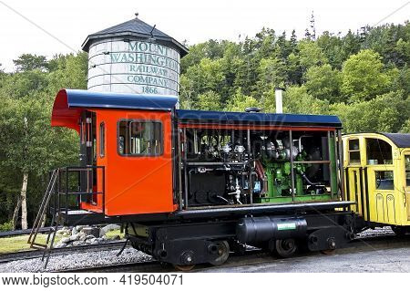 North Conway, Nh - August 10: The Old Train That Climb The Mount Washington On August 10, 2009 In Mo