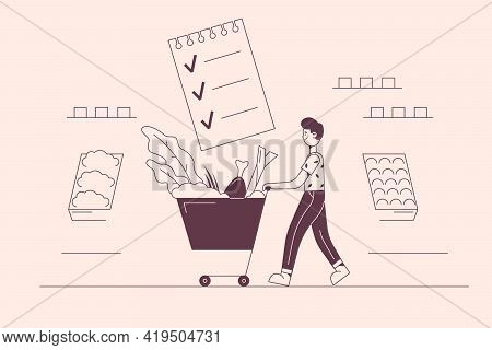 Healthy Eating, Balanced Food, Shopping Concept. Young Positive Man Cartoon Character Carrying Fresh