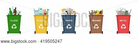 Set Of Garbage Bins For Recycling Different Types Of Waste. Sorting And Recycling Waste, Vector Illu