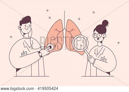 Lungs Examination In Medicine, Pulmonology Concept. Young Doctors Cartoon Characters In White Unifor