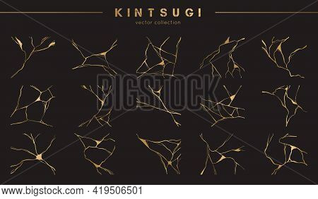 Set Of Gold Kintsugi Vector Patterns. Japanese Art Of Repairing Broken Pottery. Vector Broken And Cr
