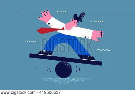 Business Challenge, Balance, Stability Concept. Young Businessman Cartoon Character Wearing Official