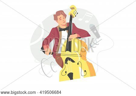 Contrabassist Player Playing Jazz Music Vector Illustration. Solo Performing On Double Bass Instrume