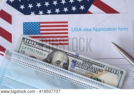 On The Table Is Form For An American Visa.