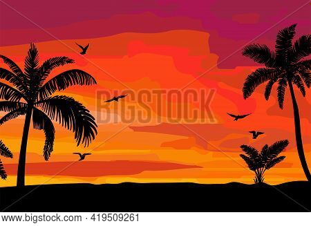 Silhouette Palm Sunset Hand Drawn, Great Design For Any Purposes. Yellow And Orange Background. Sket
