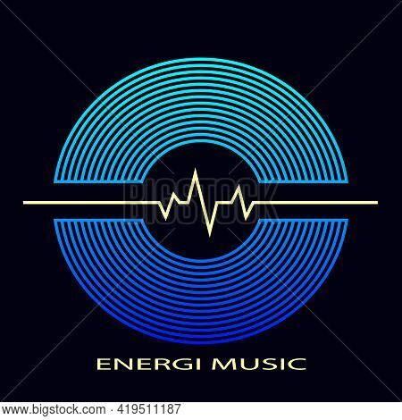 Musical Record With A Sound Wave. Vinyl Record Poster, Music Album Cover, Logo.