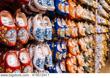 Zaanse Schans, Netherlands. November 2020. Dutch Traditional Colorful Handmade Wooden Shoes, Clogs W