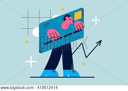 Bankruptcy, Debts, Financial Problems Concept. Sad Frustrated Businessman In Credit Card Burden Walk