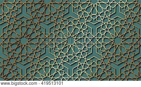 Seamless Islamic Pattern, Gold Line Art Persian Motif. Ramadan Banner Arabic Round Pattern Elements.