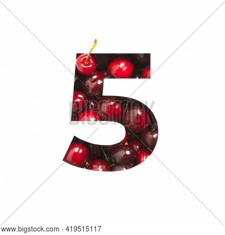 Number Five Made Of Cherries And Paper Cut In Shape Of Fifth Numeral Isolated On White. Festive Type