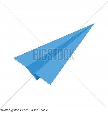 Origami Paper Plane Icon. Blue Handmade Airplane Isolated On White Background. Symbol Of Communicati