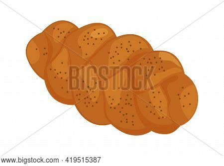 Challah Vector Icon. Holiday Jewish Braided Loaf, Shabbat Bread Isolated On White Background. Food I