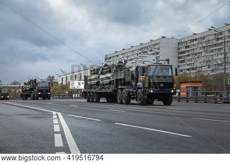 Russia, Moscow, May 4. Rehearsal Of The Victory Parade In The Great National War. Armored Vehicles P