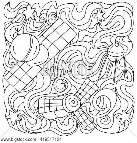Tangled Coloring Page On Space Theme, Contour Wavy Patterns And Spacecraft Vector Illustration
