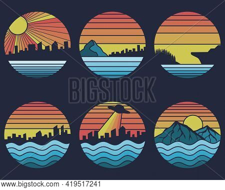 Shoreline Sunset Retro Vector Illustration For Your Company Or Brand