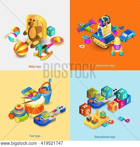 Toys Design Concept Set With Isometric Baby Fun Interactive Toys Isolated Vector Illustration