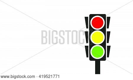 Standing Traffic Light Banner With White Background, Right Margin Vector