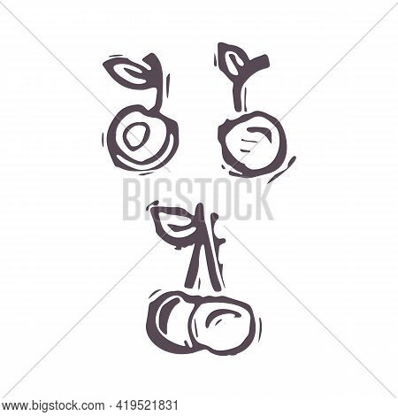 Hand Carved Bold Block Print Squirrel Cherry Fruit Icon Clip Art. Folk Illustration Design Element.