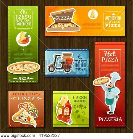 Pizza Cartoon Banners Set With Pizzeria Symbols On Wooden Background Isolated Vector Illustration
