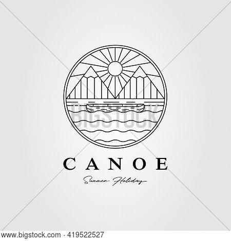 Canoe Kayak Mountain Lake Logo. Sunset, Sunrise, Ocean Logo Vector Illustration Design