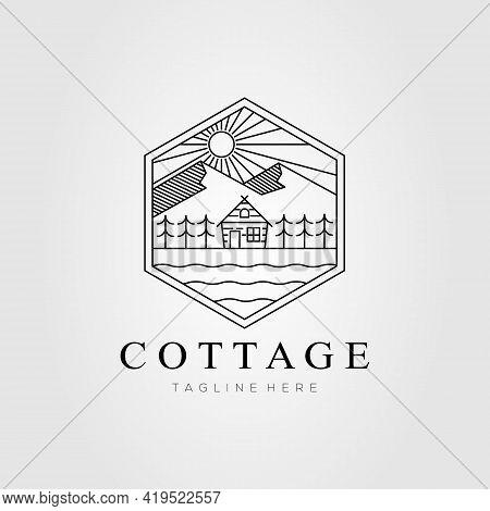 Cottage Rent Line Art Logo Template Vector Illustration Design. Simple Cabin, House, Lodge Rent Logo