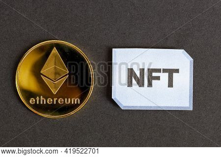 A Concept Image For Investing In Non Fungible Tokens (nfts) Through Ethereum Blockchain. These Are R