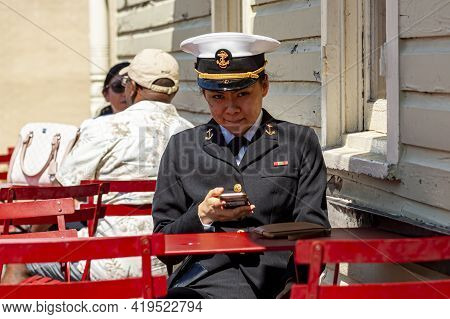 Annapolis, Md, Usa 05-02-2021: A Young Asian American Female Cadet Training At The Us Naval Academy