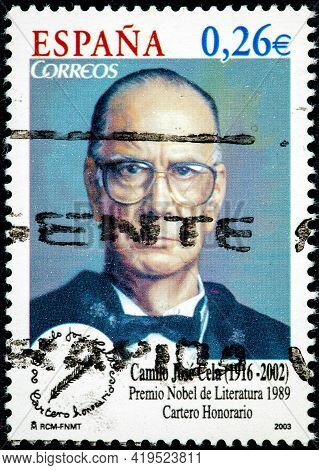 Spain - Circa 2003: A Stamp Printed In The Spain Shows Camilo Jose Cela, Nobel Prize For Literature