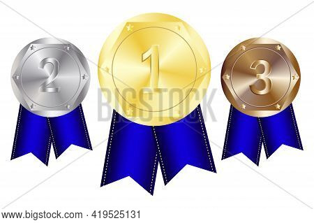 Winner Award. Medal Blue Ribbon, Great Design For Any Purposes.  Number One. Win Prize. Stock Image.