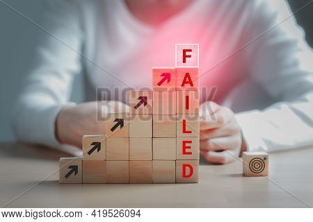 Text Failed On The Wooden Block And The Dartboard Icon Is On The Floor, Failing Ideas Metaphor, Conc