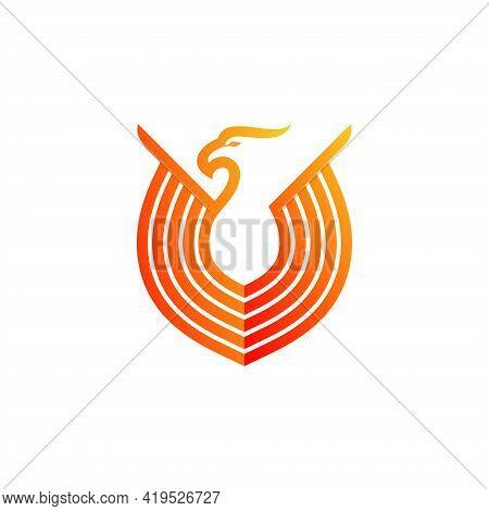 Eagle Vector. Eagle Bird Head With Shield Vector Logo Template. Falcon Or Hawk Logo. Good For A Masc