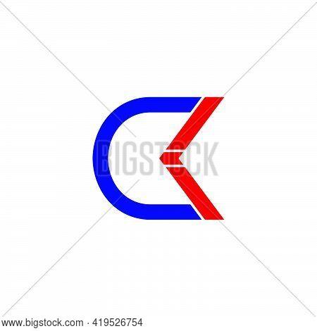 Letter Ck Simple Geometric Motion Arrow Geometric Line Logo Vector