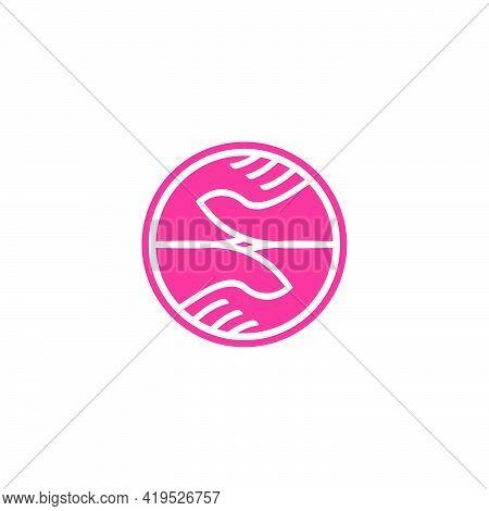 Soft Care Hand Symbol Simple Geometric Design Vector