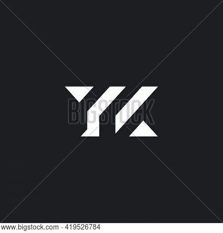 Letter Yk Geometric Stripe Lines Triangle Shape Logo Vector