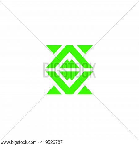 Abstract Green Mountain Mosaic Geometric Vector Unique Unusual Brand Identity Concept
