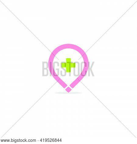 Plus Medical Pin Location Simple Geometric Logo Vector