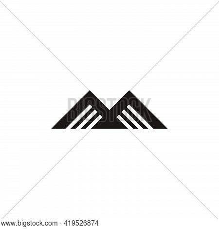 Mountain Stripes Letter M Simple Geometric Logo Vector