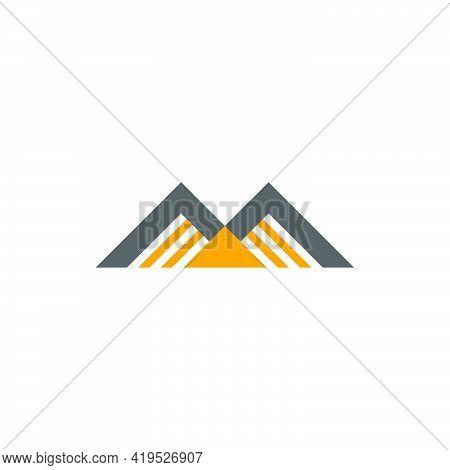 Golden Mountain Simple Geometric Colorful Logo Vector