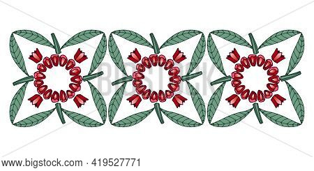 Ring Of Peeled Red Pomegranate Seeds With Green Leaves, Floral Ornament, Frame Or Border For Menu De