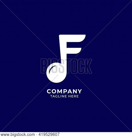 Letter F Alphabet Music Logo Design Isolated On Navy Blue Background. Initial And Musical Note, Semi