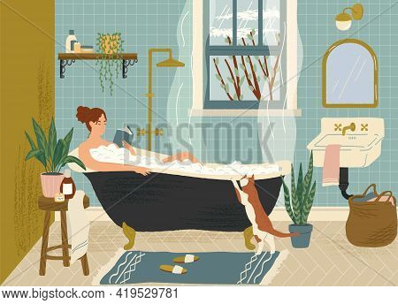 Woman Reading Book While Relax In Bath Tub. Bathroom Interior Hand Drawn Vector Illustration. Cozy H